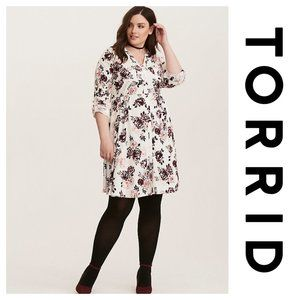 Torrid Floral Button Front Dress White Pink 0